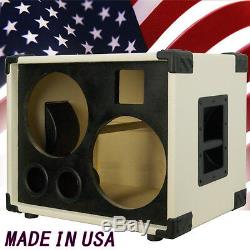 2X10 with tweeter Bass Guitar Empty Speaker Cabinet Ivory White Tolex Blk Face