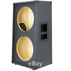 2X12 Vertical Slanted guitar Speaker Empty Cabinet Bronco Black Tolex G2X12VSL