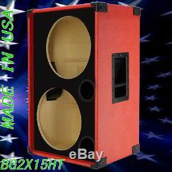 2X15 Empty Bass Guitar Speaker Cabinet Fire Red Tolex BG2X15SFRBf