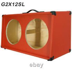 2x12 Guitar Speaker empty Cabinet Fire Hot Red Tolex Slanted front shape