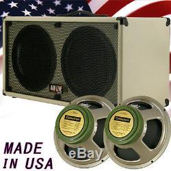 2x12 Guitar Spker Cabinet Blonde white Tolex WithCelestion Green Back speakers