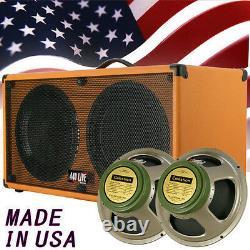 2x12 Guitar extension Spker Cabinet Orange Tolex WithCelestion Green Back speakers