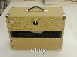 SubZ 1x12 Extension Guitar Speaker Cabinet Tweed Tolex Oxblood Grill Open