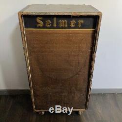 Vintage 1960s Selmer Goliath Croc Skin 1×18 Guitar Bass Speaker Cabinet Goodmans