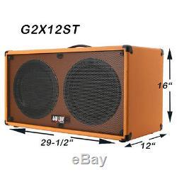 (1) Enceinte Guitare 2x12 Orange Tolex Orange Avec Enceintes Vintage 30