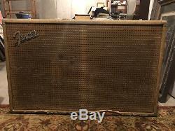 1963 Cabinet D'enceinte Fender Brownface 2x12 Vintage Cab Non Chargé Super Rare