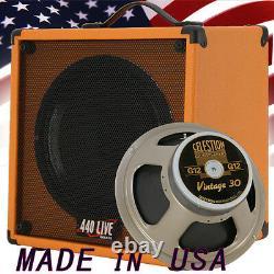 1x12 Guitar Speaker Extension Cabine Avec 8 Ohms Celestion Vintage 30 Orange Tolex