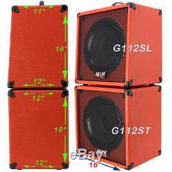 1x12 Guitar Speaker Extension Cabinet Videz Orange Et Noir Tolex Chicane Avant