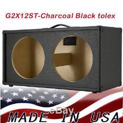 2x12 Enceintes De Guitare Haut-parleur Vide (tolex Noir Anthracite) G212st Tlx
