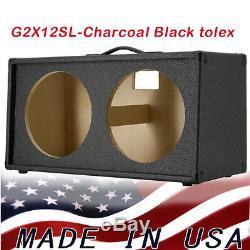 2x12 Haut-parleur Guitare Vide Armoire Charbon Noir Tolex Oblique Forme Avant