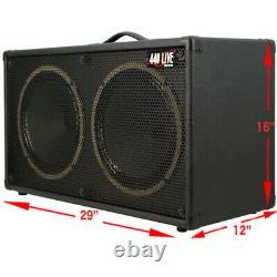 Cabinet De Haut-parleur De Guitare 2x12 Bronco Noir Tolex Sous-estion Soixante-dix 80 Intervenants