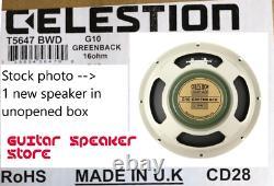 Celestion G10 Greenback 16 Ohm 10 Pouces 30w Guitare Haut-parleur Uk Made Nib