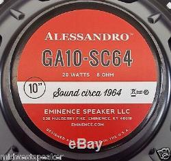 Eminence Ga10-sc64 10 Guitar Speaker George Alessandro 8 Ohms Livraison Gratuite
