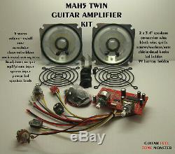 Mah5 Double Cigar Box Guitar Amp Kit D'amplificateur 5w Overdrive Mp3 Hdph 3.4 Haut-parleurs