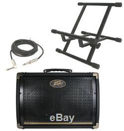 Peavey Combo Ecoustic E208 Acoustique 30w Amp (2) 8 Haut-parleurs Stand & 1/4 Câble