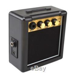Portable Mini Guitare Électrique Amplificateur Haut-parleur Haut-parleurs Amp 3w Noir + Or