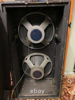 Vintage 1978 1970s Vox Fb215 2×15 Amplificateur Speaker Cabinet Avec Fane 152174